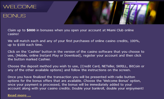 coupon code for miami club casino