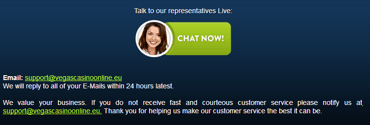 Vegas Online Casino Support