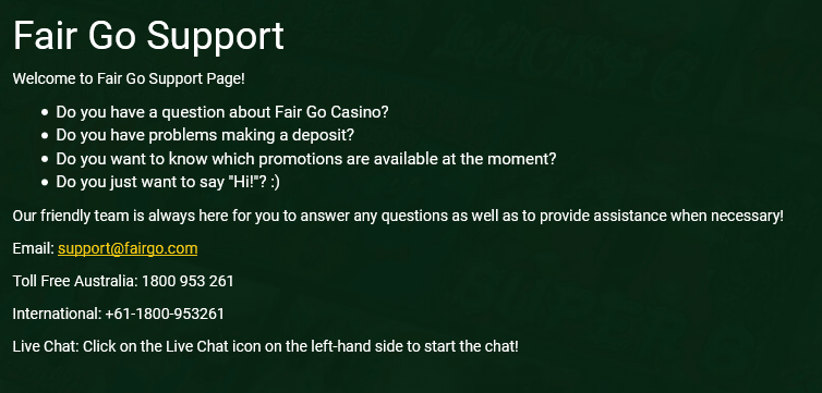Fair Go Casino Support