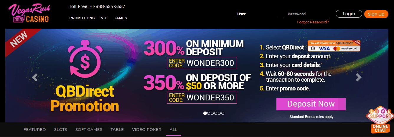 Vegas Rush Casino Homepage