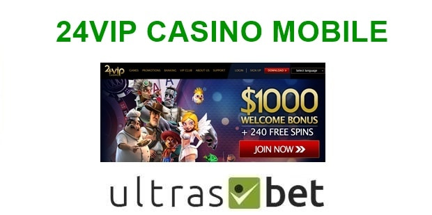 24VIP Casino Mobile Welcome page