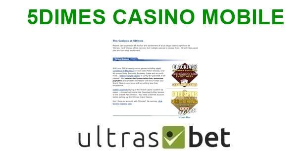 5Dimes Casino Mobile Welcome page