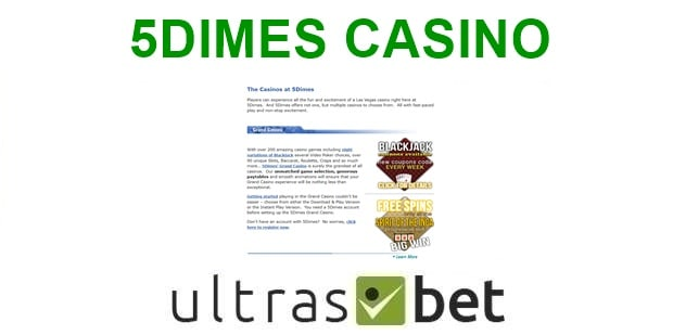 5Dimes Casino Welcome page