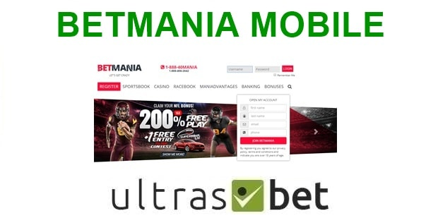 BetMania Mobile Welcome page