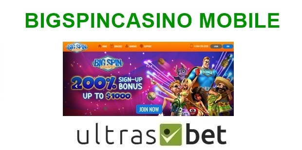 BigSpinCasino Mobile Welcome page