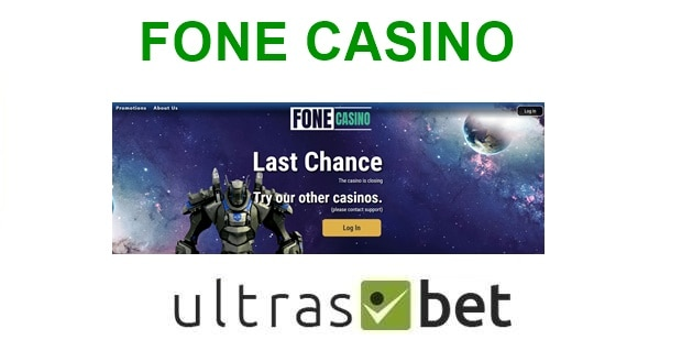 Fone Casino Welcome page