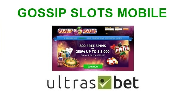Gossip Slots Mobile Welcome page