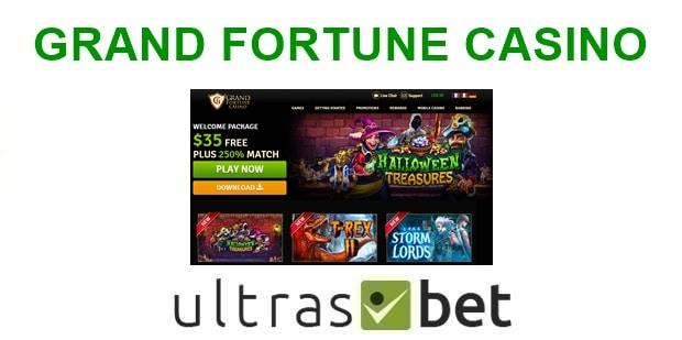 Grand Fortune Casino Welcome page