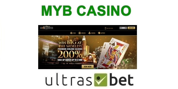MYB Casino Welcome page