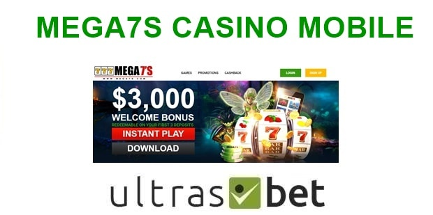Mega7s Casino Mobile Welcome page