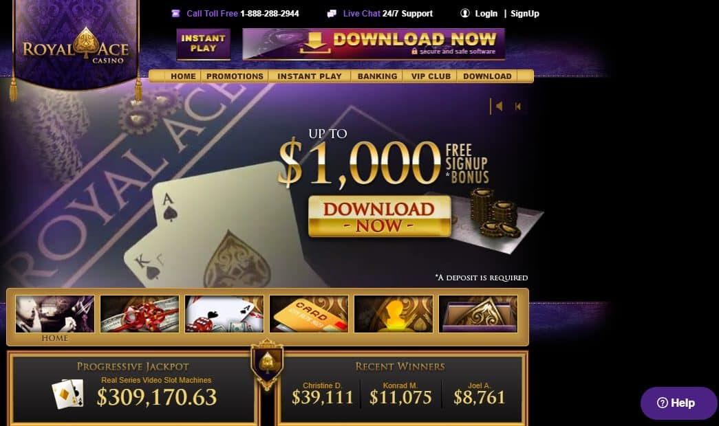 Royal Ace Casino Homepage