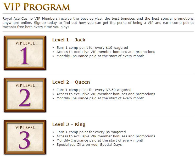 Royal Ace Casino VIP Program