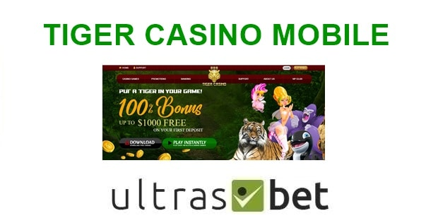 Tiger Casino Mobile Welcome page