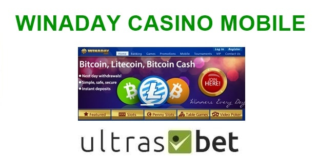 WinADay Casino Mobile Welcome page